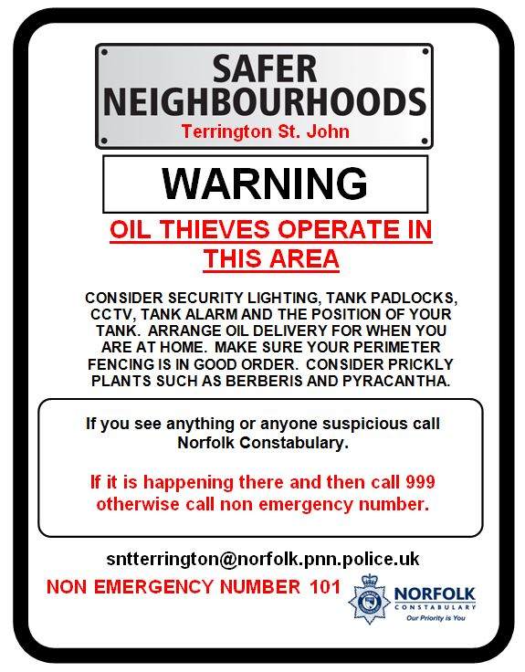 SNAP Oil Thefts Warning Poster