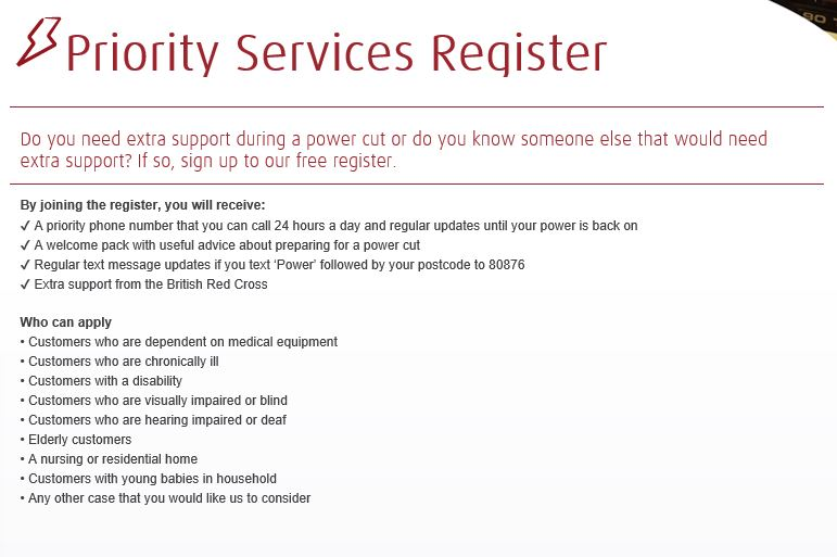UK Power Priority Services Register Poster