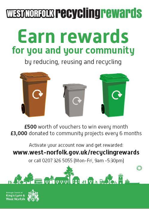 West Norfolk Recycle rewards poster