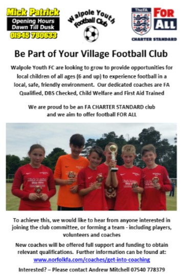 Walpole Youth Football Club advert