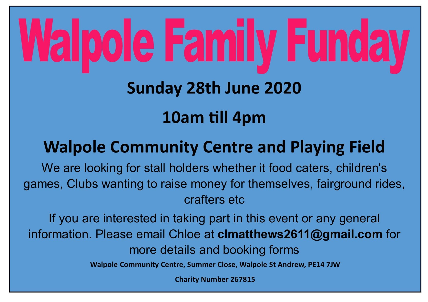Walpole Family Funday Poster 28th June 2020
